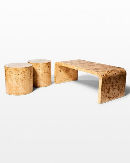 Front view of Ward Burl Wood Coffee and Side Table Set