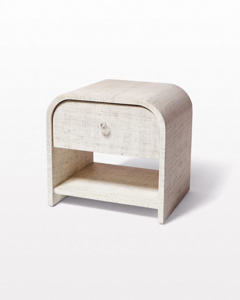 Front view of Amerie Textured Linen Side Table Nightstand