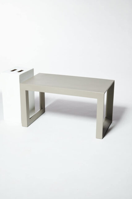 Alternate view 1 of Molded Taupe Acrylic Frame Bench