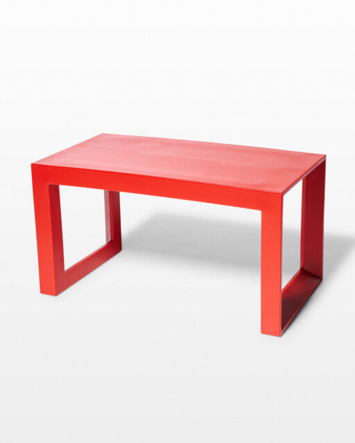 Front view of Molded Red Acrylic Frame Bench