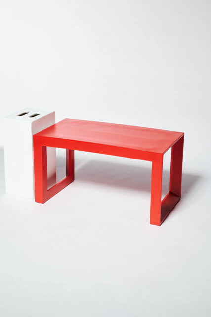 Alternate view 1 of Molded Red Acrylic Frame Bench
