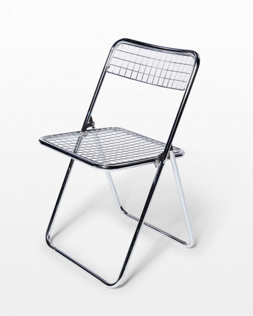 Front view of Titus Chrome Grid Folding Chair