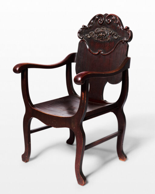Front view of Derek Carved Wooden Chair