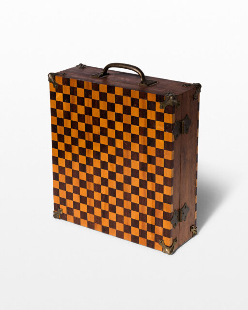 Front view of Checkered Wooden Inlay Case