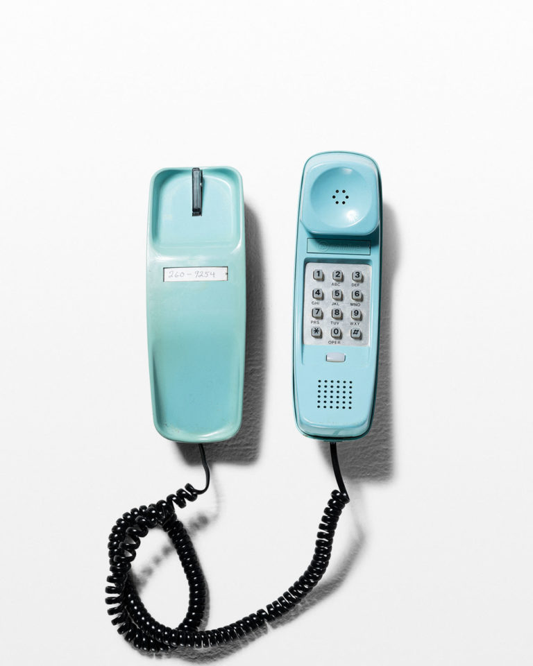 Front view of Teal Trimline Phone