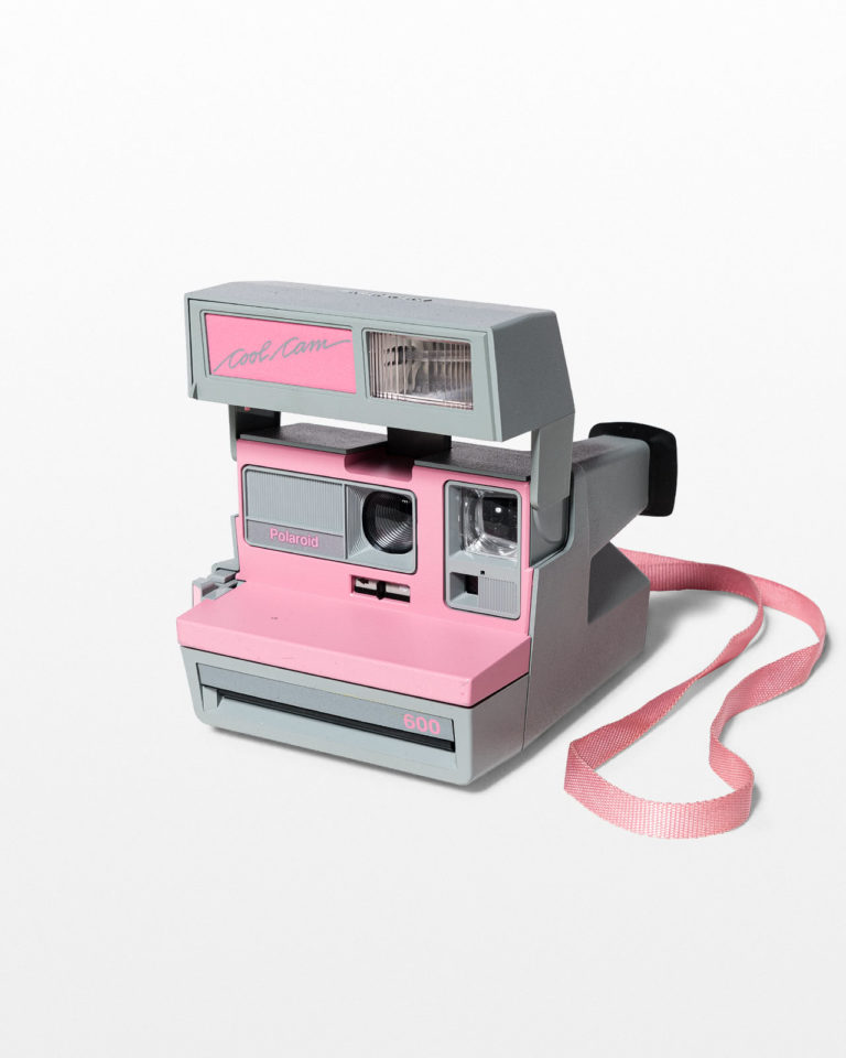 Front view of Pink Polaroid Sun 600 Camera