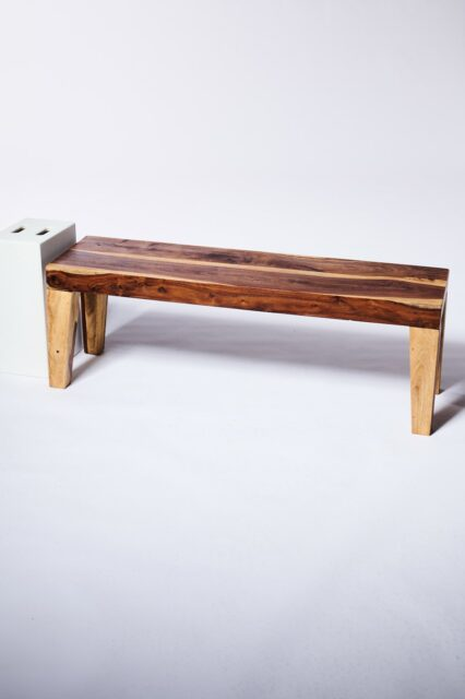 Alternate view 1 of Brown Wood Flared Foot Bench
