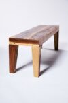 Alternate view thumbnail 2 of Brown Wood Flared Foot Bench