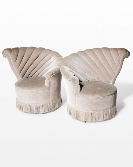 Front view of Vanessa Velvet Shell Chair Pair