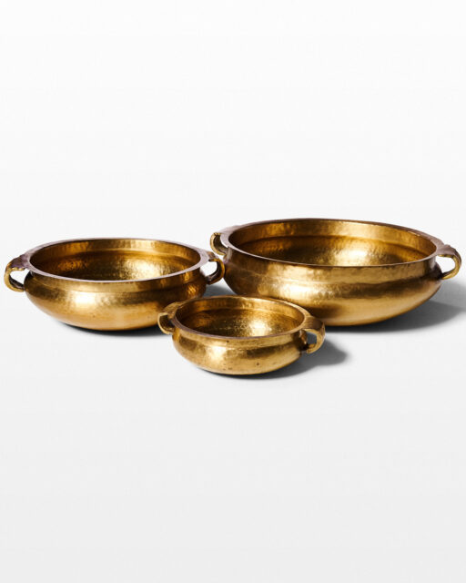 Front view of Jal Brass Bowl Trio