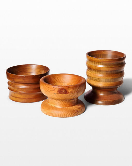 Front view of Melon Trio of Turned Wood Bowls