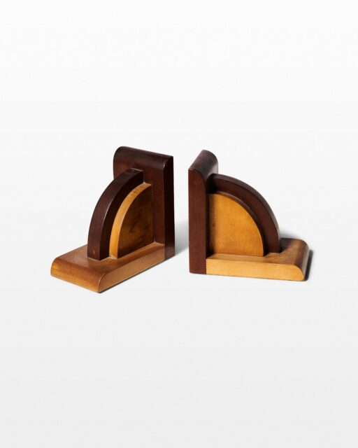 Front view of Sunrise Wooden Bookends