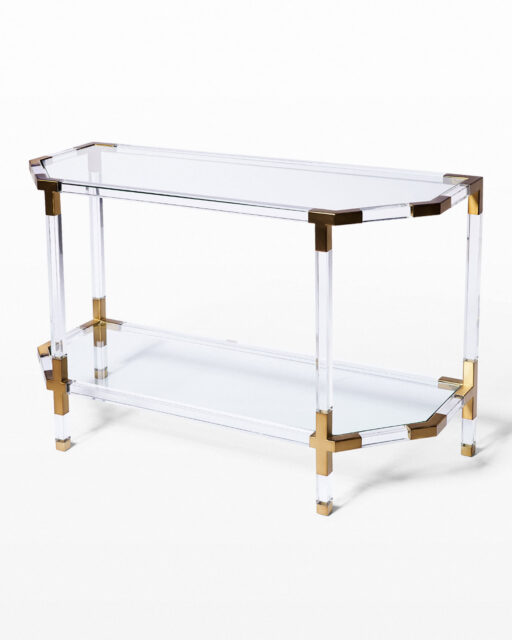 Front view of Topaz Acrylic and Glass Console Table