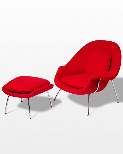 Front view of Ruby Womb Chair and Ottoman