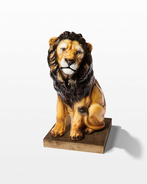 Front view of Linus Ceramic Lion Statue