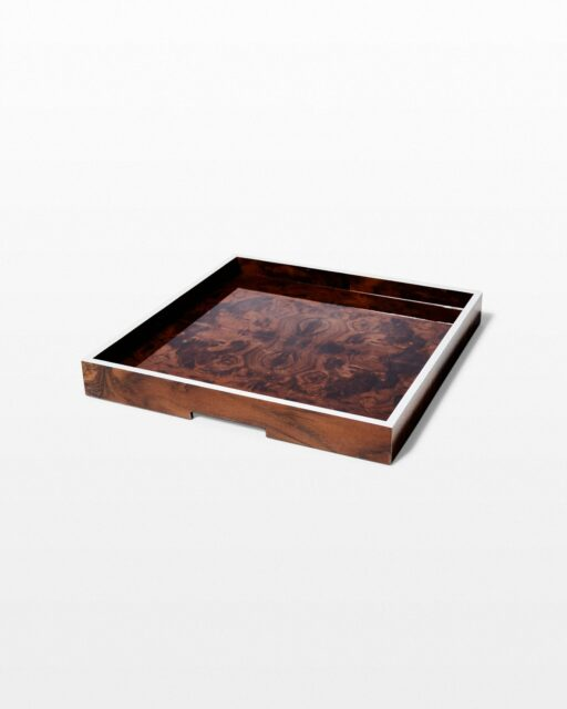 Front view of Ives Burl Wood Tray