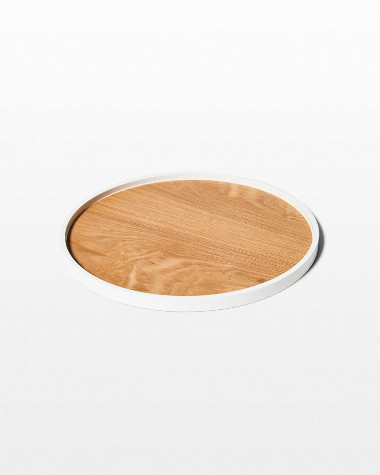 Front view of Froy White Edge Wooden Tray