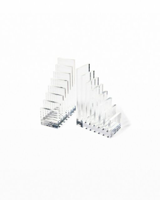 Front view of Step Acrylic Bookend Object Pair