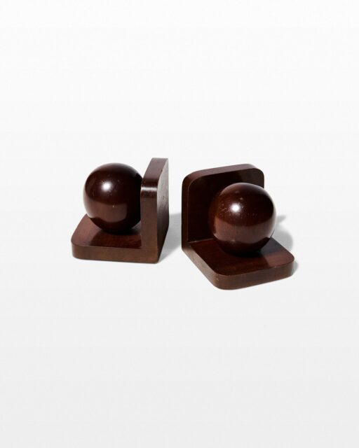 Front view of Wit Wooden Sphere Bookends