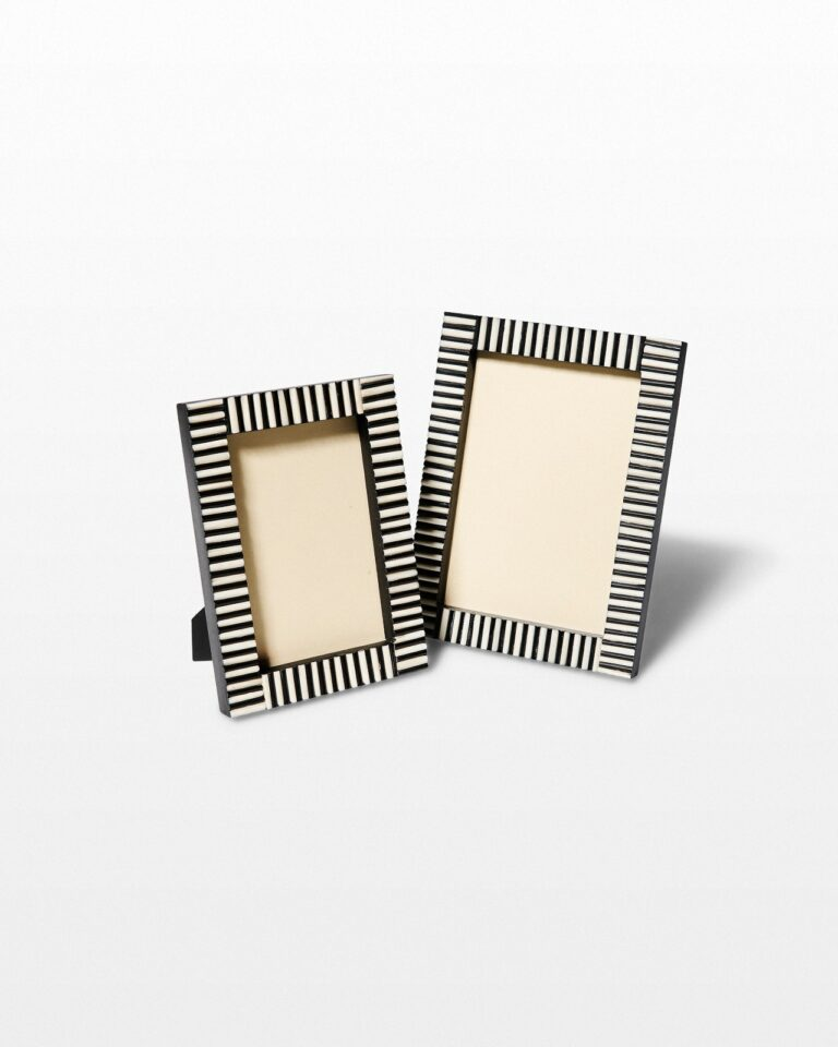 Front view of Inez Inlaid Stripe Picture Frame Duo