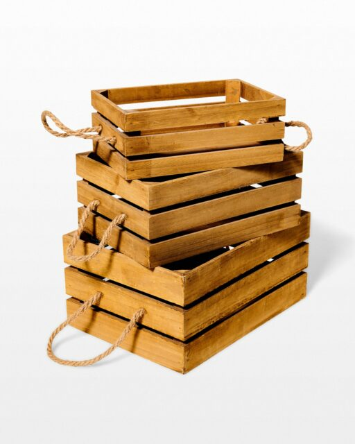 Front view of Plank Wooden Crate Trio