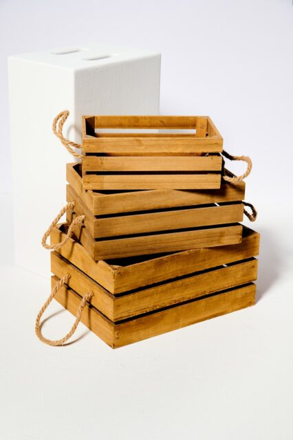 Alternate view 1 of Plank Wooden Crate Trio
