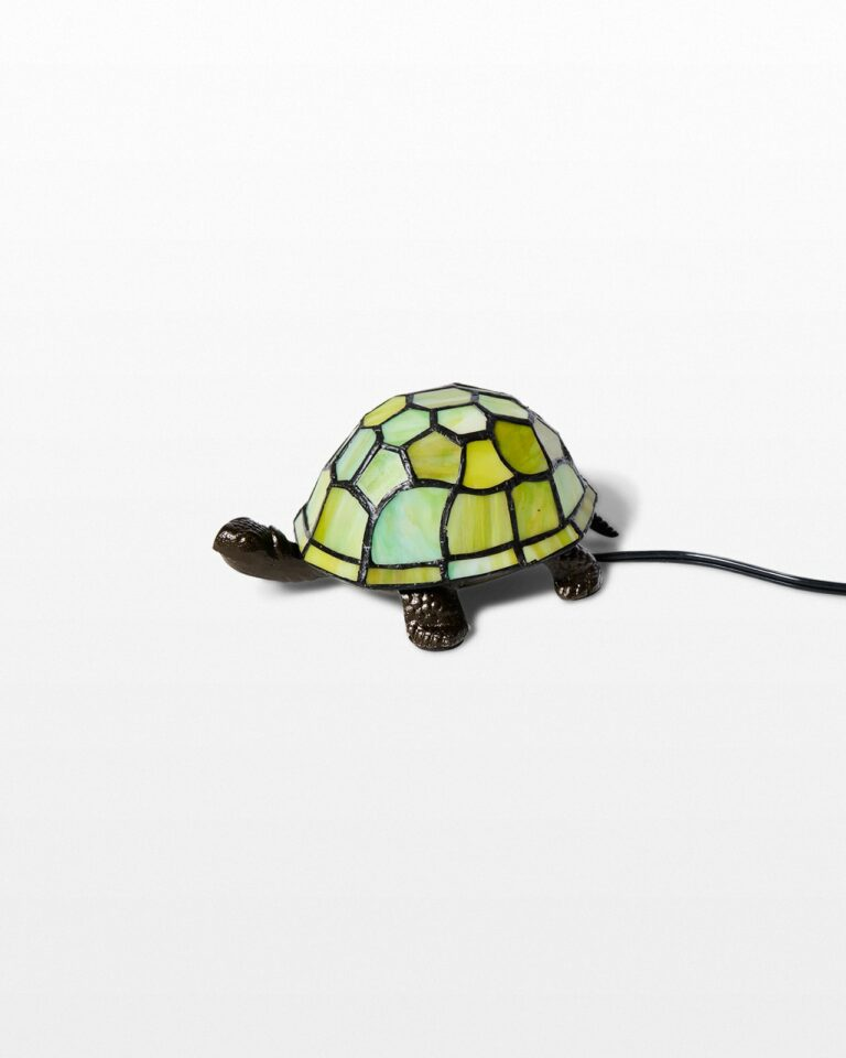 Front view of Stained Glass Turtle Accent Lamp