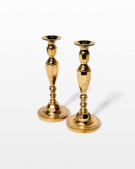 Front view of Mahoney Brass Candlestick Pair