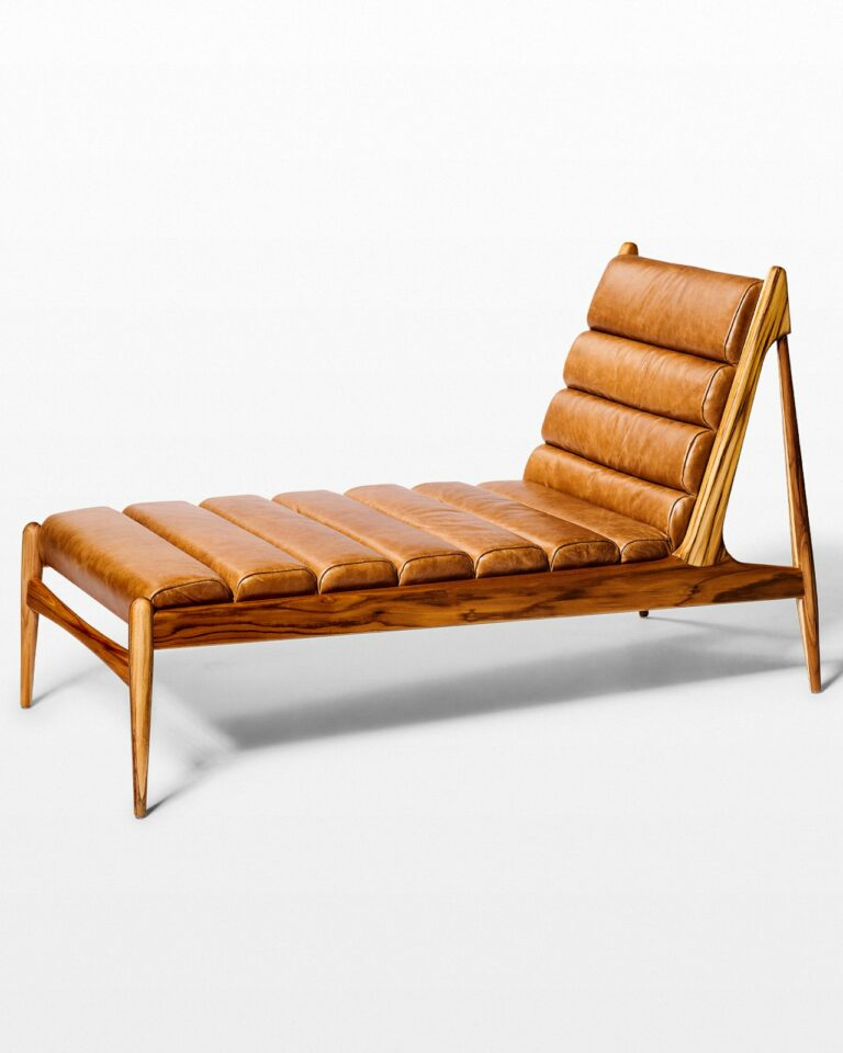 Front view of Gulf Teak and Leather Chaise Lounge