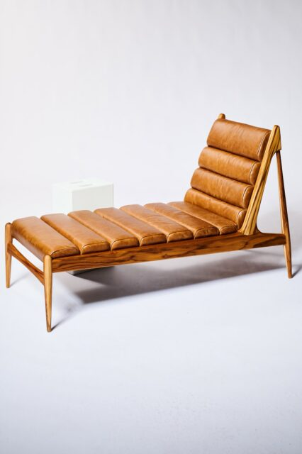 Alternate view 2 of Gulf Teak and Leather Chaise Lounge