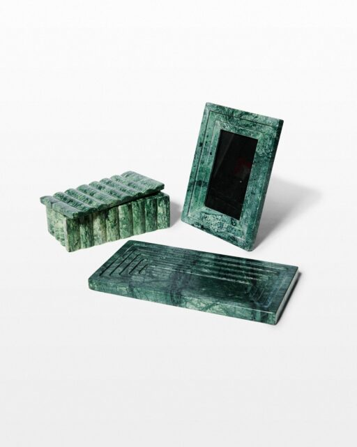 Front view of Cortez Green Marble Vanity Desk Set