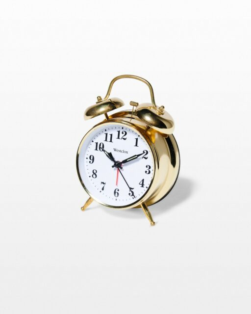 Front view of Robin Gold Alarm Clock