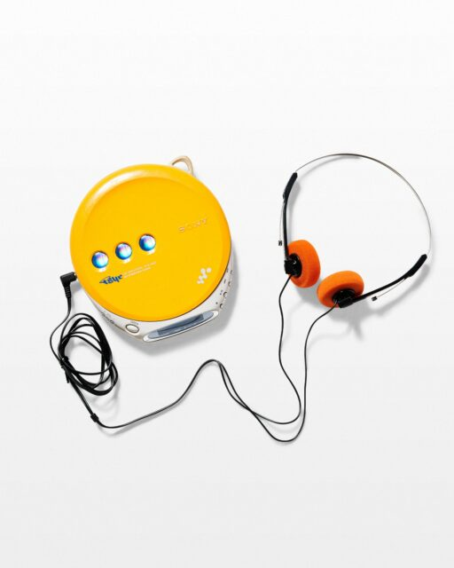 Front view of Carson Yellow CD Walkman With Headphones