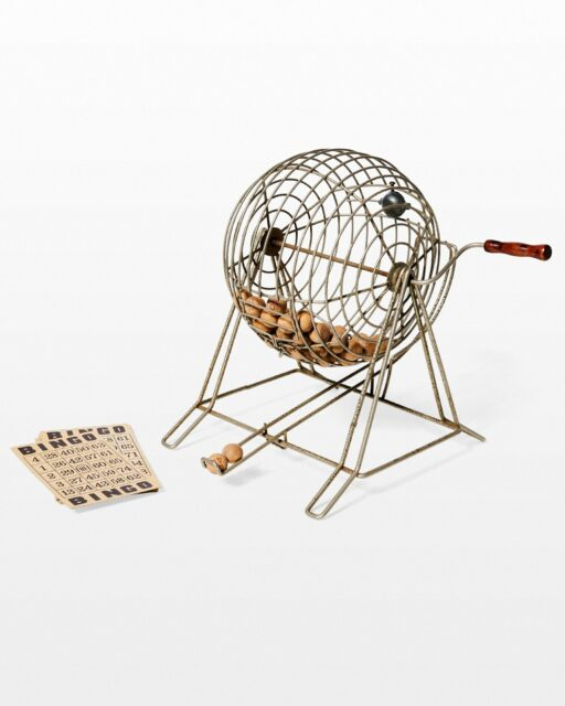 Front view of Bernie Vintage Bingo Cage and Cards