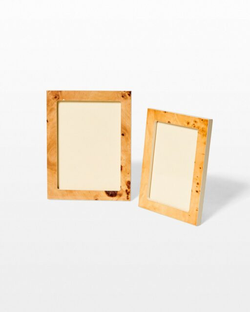 Front view of Cecil Burl Wood Picture Frame Pair
