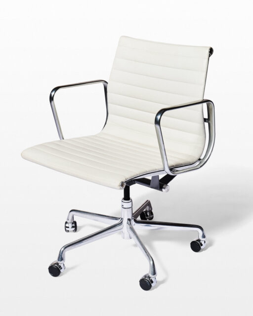Front view of Harris Adjustable White Leather Rolling Chair