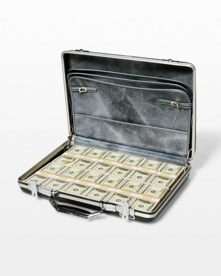Front view of Briefcase Full of Faux $100 Bills