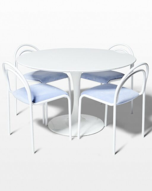 Front view of Becket Table and Kinzo Chairs Set
