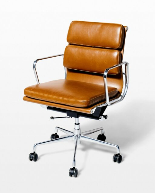 Front view of Jefferson Brown Leather Rolling Desk Chair