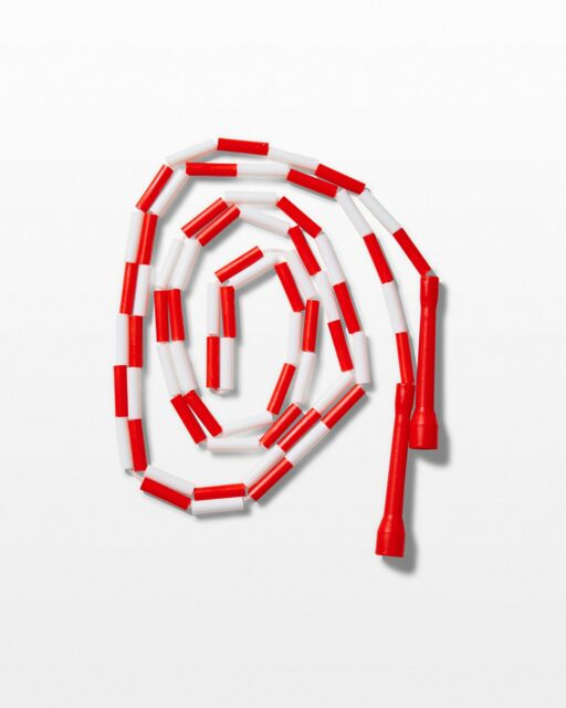 Front view of Click 9' Red And White Jumprope
