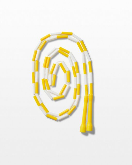 "Front view of Clack 9"" Yellow and White Jumprope"