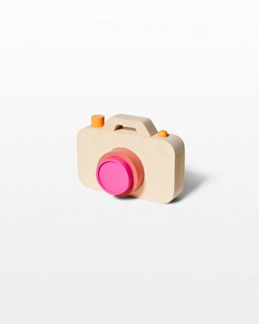 Front view of Riley Wooden Camera Toy