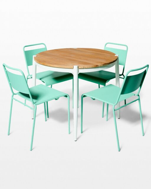 Front view of Bo Table and Mint Metal Chair Set