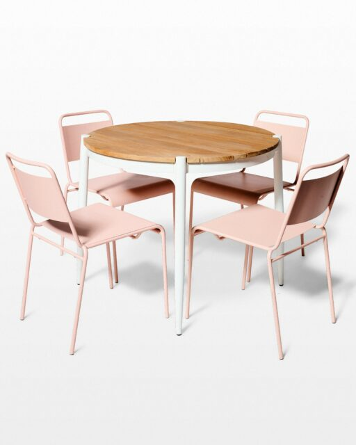 Front view of Bo Table and Blush Pink Metal Chair Set